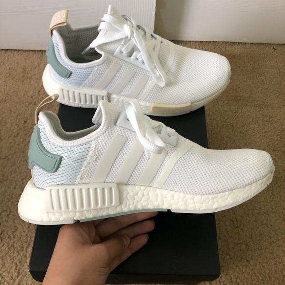 Adidas Women NMD R1 White TAC Green